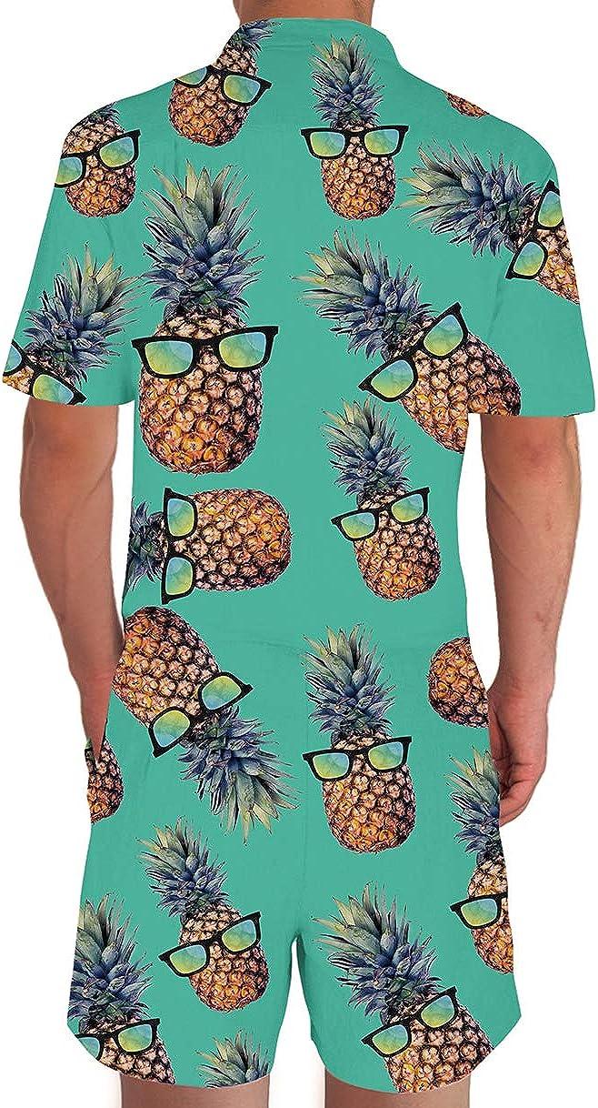 Loveternal Mens Romper 3D Fashion Print Short Sleeve Zip Up Jumpsuit Casual Dungarees