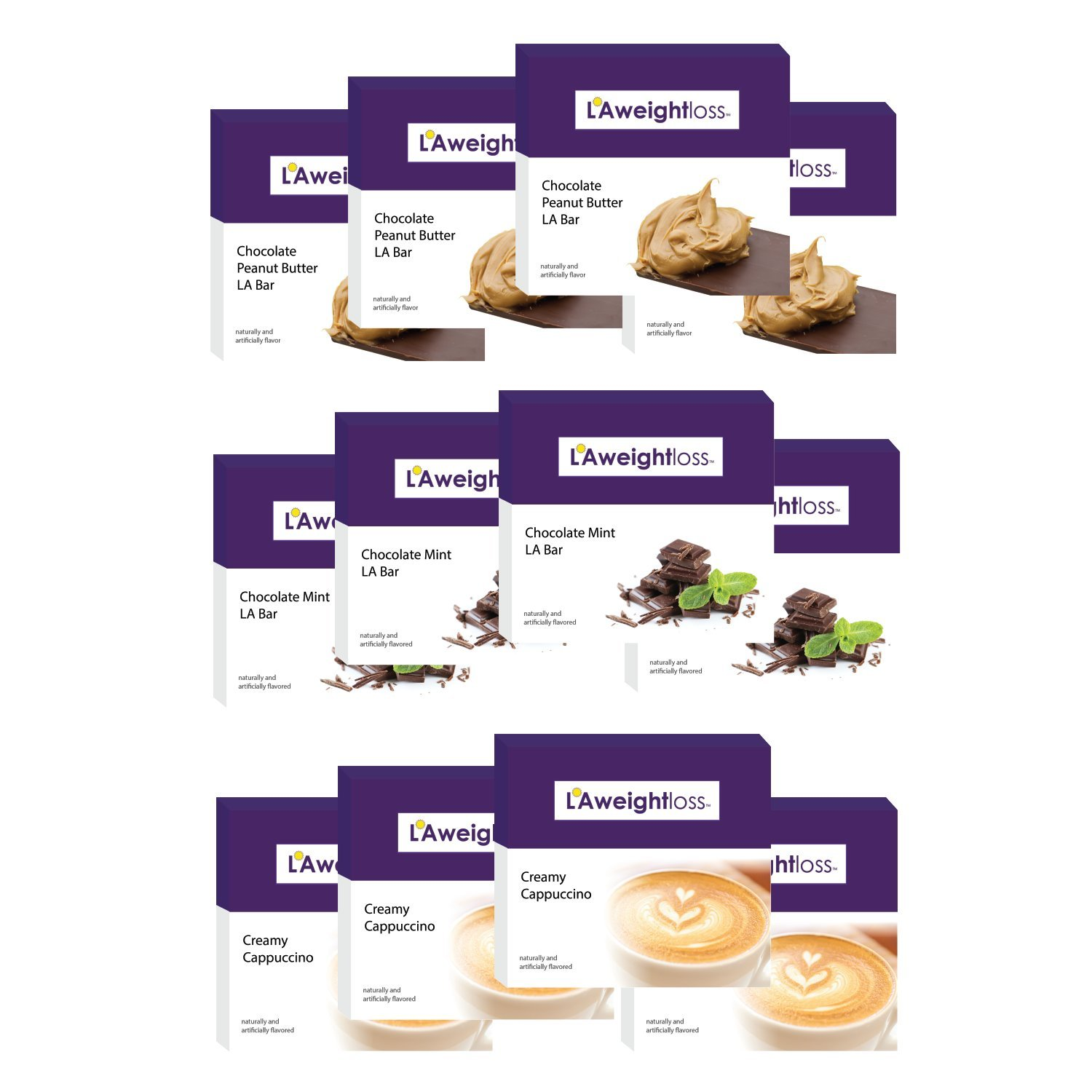 LA Weight Loss Bars - Chocolate Peanut Butter, Chocolate Mint, Cappuccino - 12 Boxes by L A Weight Loss & Wellness (Image #1)