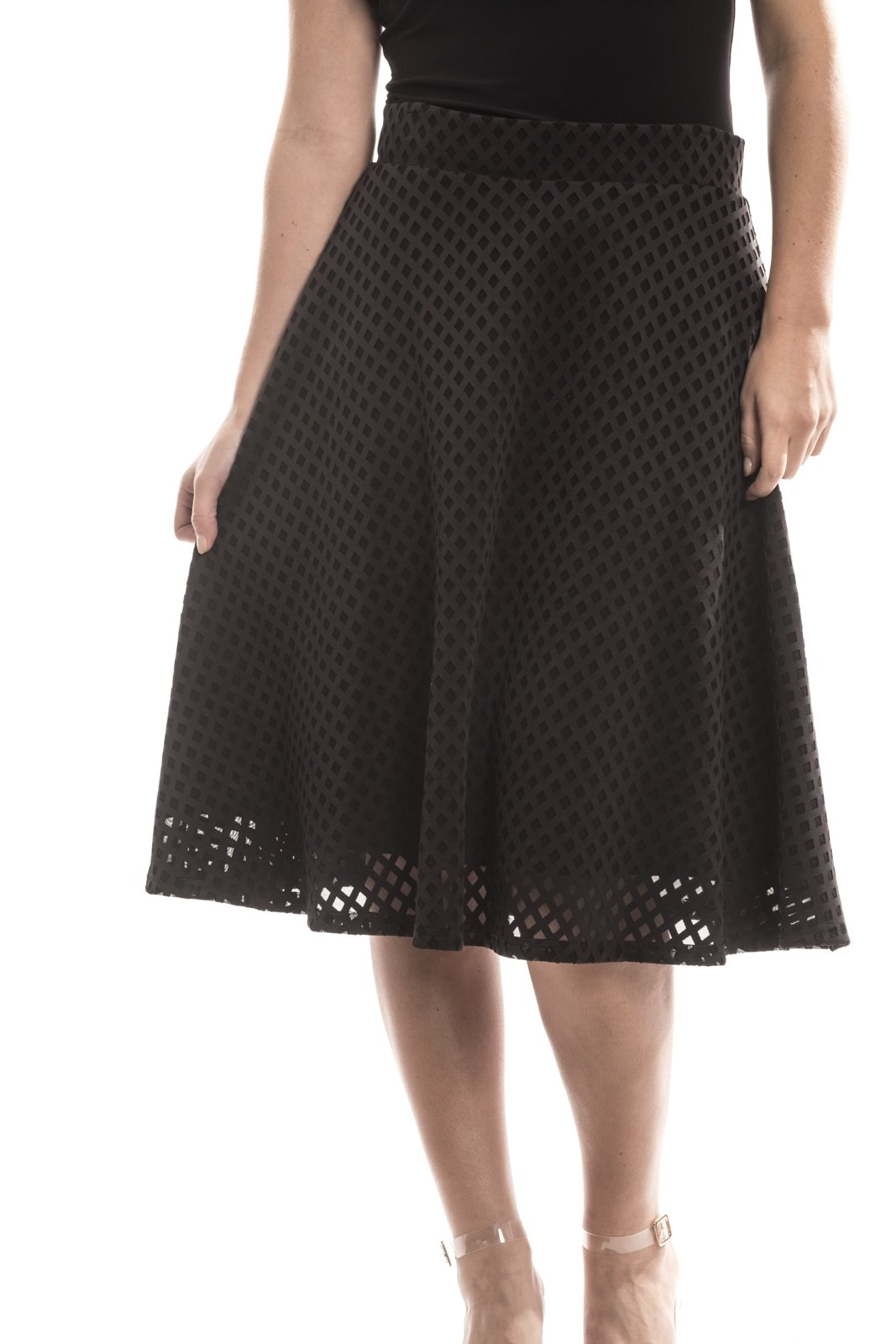 Joseph Ribkoff Black A-Line Laser Cut Skirt Style 173492 - Size 10