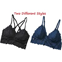 Size (Bust: 64-90 CM) 2 Pieces bralette Lace Cami Half Camisole Bra Strappy front Tank Top Padded Push Up smooth Free Size Sleepwear Nightwear | Home, Outside and Beach Clothes