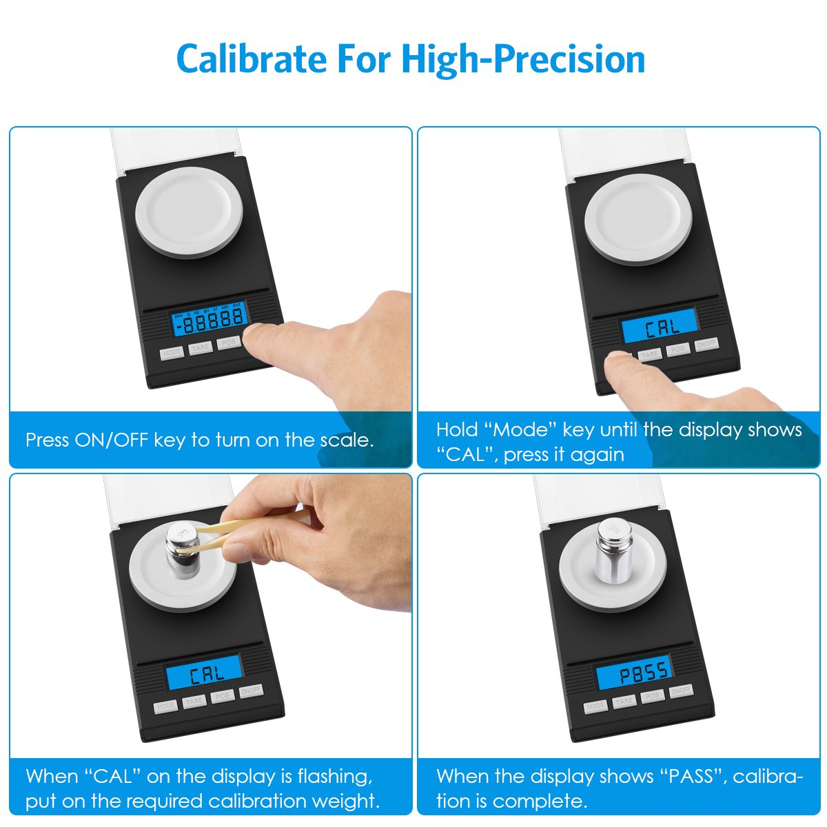 AMIR Digital Milligram Scale, Mini Precise Jewelry Scale, 50g/ 0.001g Pro Lab Scale with Calibration Weights Tweezers and Weighing Pans, 6 Units, Tare & PCS Function, Auto Off, for Gems, Diamond, etc by AMIR (Image #5)