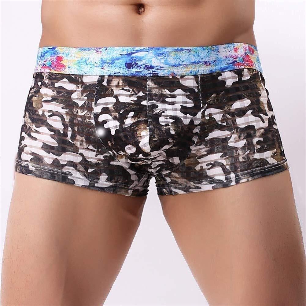 5-墨然 Men/'s Cotton Blend Button Boxer Shorts,Low Rise Ice Silk Boxer Briefs Underwear Smooth Super Thin Breathable Basic