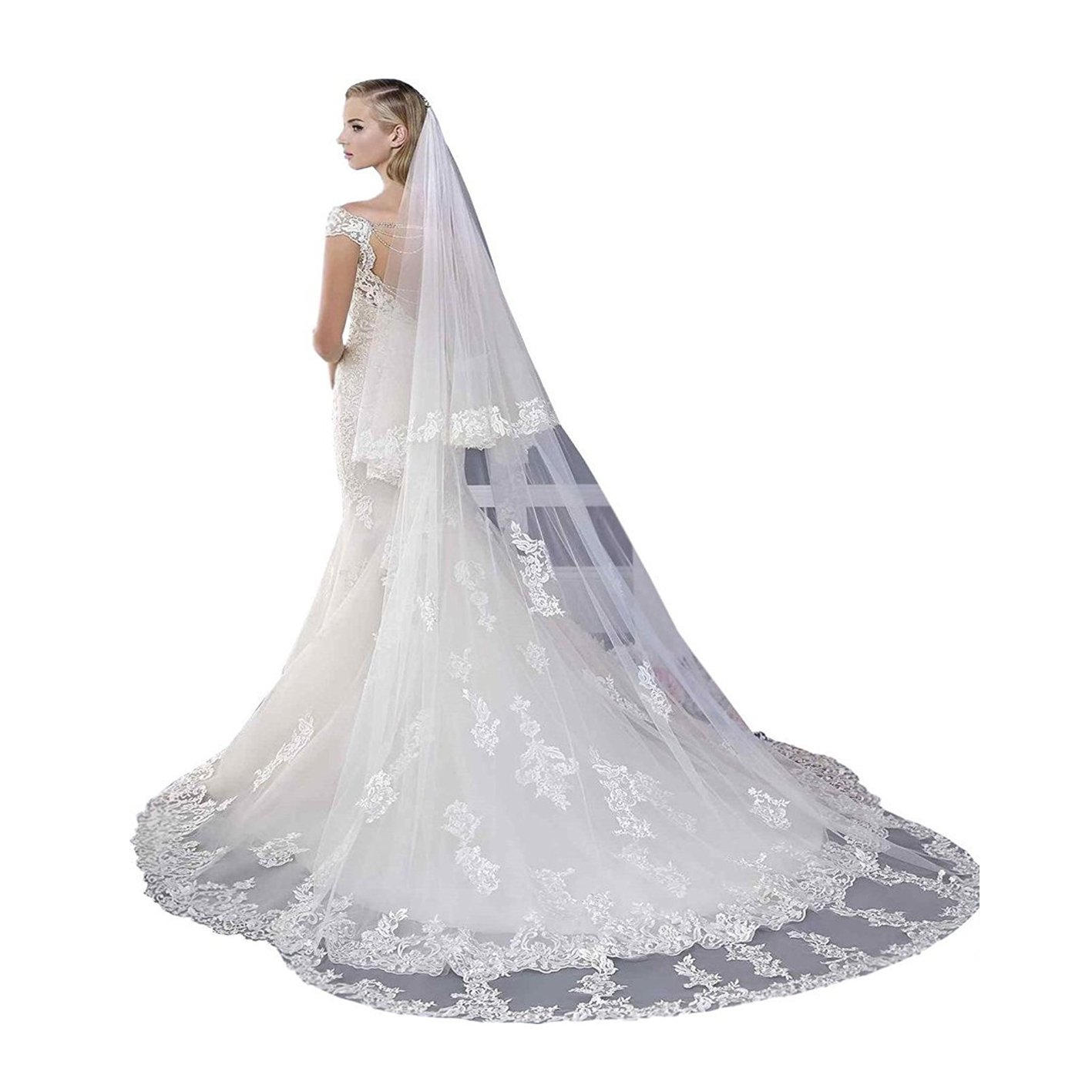 Kelaixiang 2T 2 Tiers Lace Appliqued Chapel Cathedral Bridal Veils