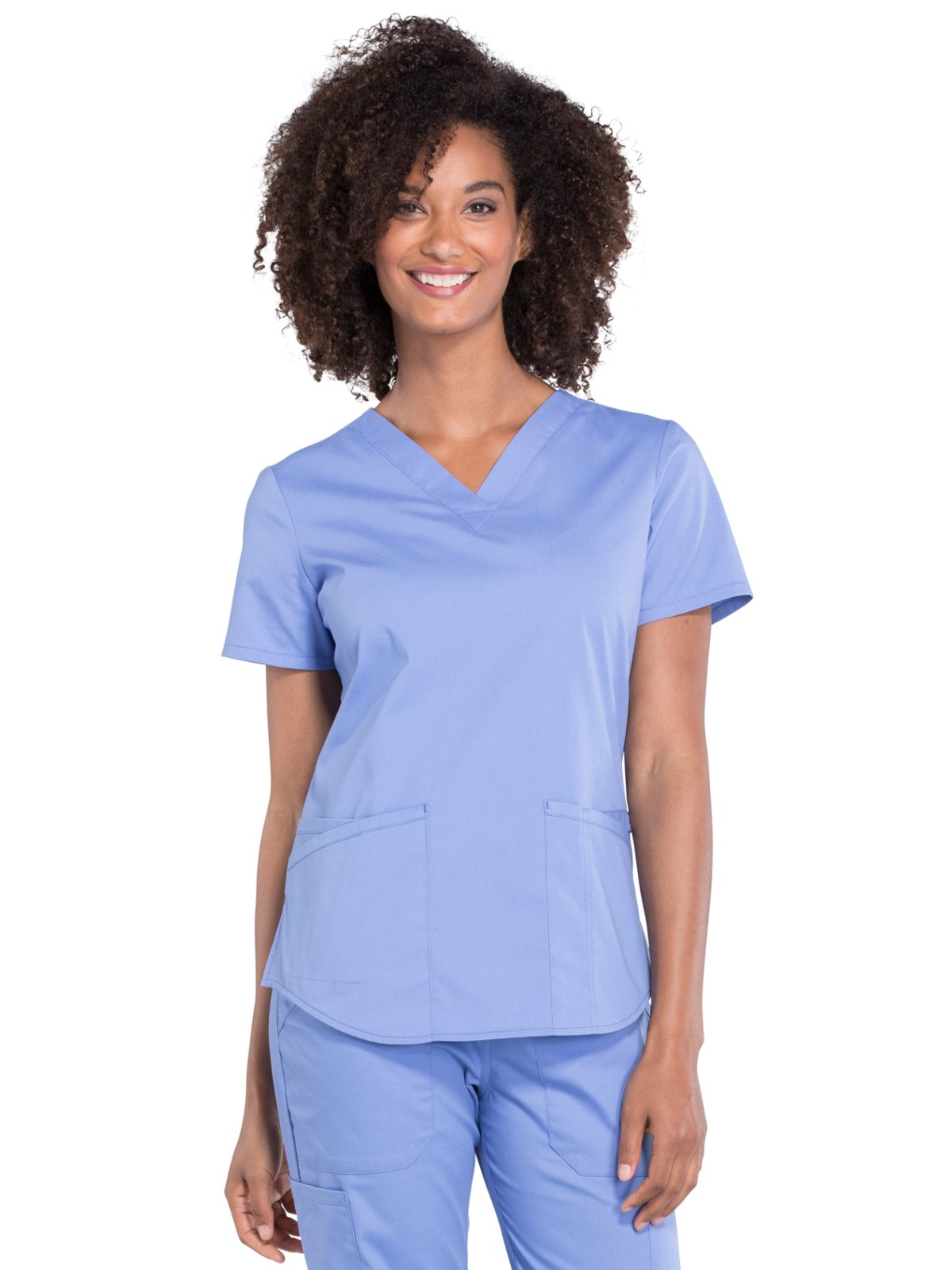 Cherokee Workwear Professionals WW665 V-Neck Top- Ciel Blue- Small