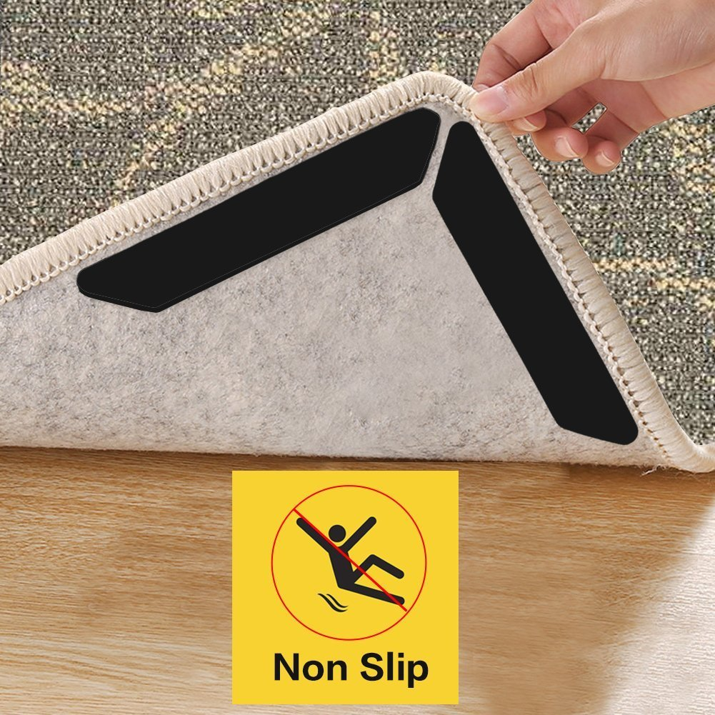 AmeiTech Rug Gripper,Home Non Slip Sticker Carpet Pad With Anti Curling, Multi Purpose Reusuable Nano Gel Pads for Office Kitchen Bathroom, 10 Pcs - Black