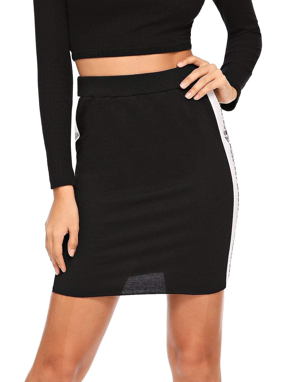 Black3 WDIRARA Women's Elastic Waist Slim Bodycon Midi Pencil Rib Knit Skirt