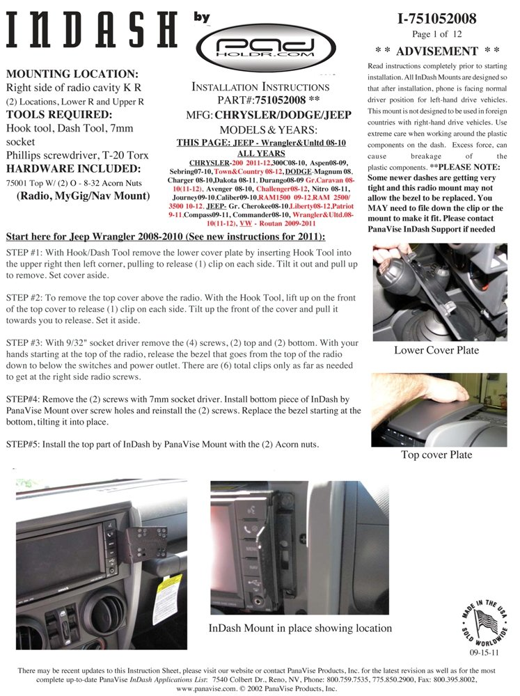 Padholdr Utility Series Premium Locking Tablet Dash Kit for 2008 - 2014 Dodge Vehicles