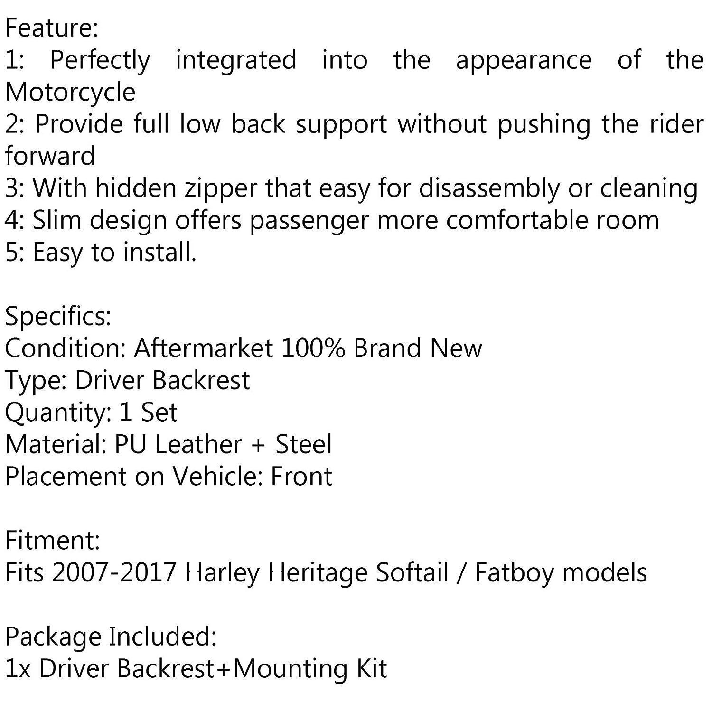 schienale Sissy Bar sedile guidatore Schienale per motocicletta kit di montaggio per Harley Heritage Softail//Fatboy 2007-2017 Artudatech
