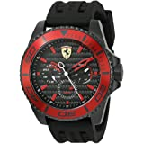 フェラーリ Ferrari Men's 'XX Kers' Quartz Stainless Steel and Silicone Casual Watch, Color:Black (Model: 0830310) [並行輸入品]