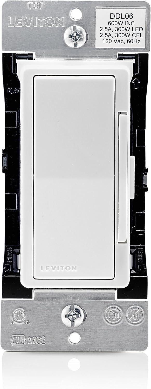 Leviton DDL06-1LZ Decora Digital Dimmer 300-Watt LED & CFL/600-Watt Incandescent & Halogen