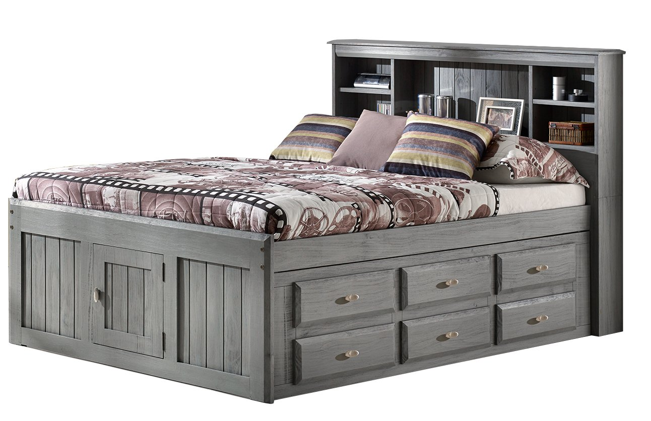 Charcoal Full Bookcase Bed with 12 Drawers