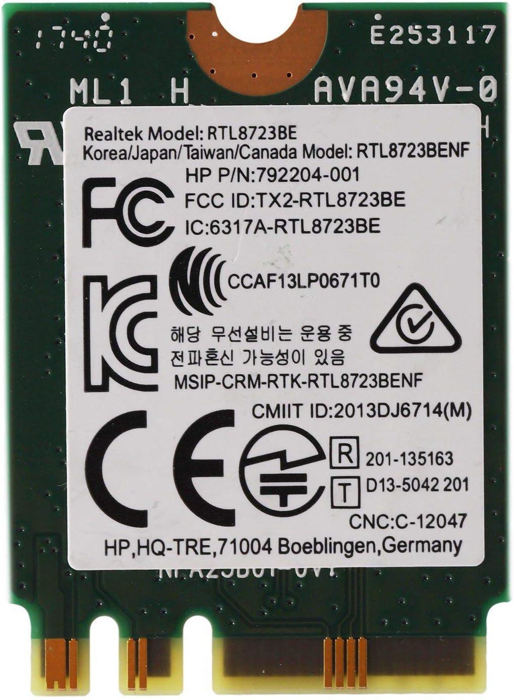 Cobeky Adaptador Inal/áMbrico para Realtek RTL8723Be 802.11N Tarjeta WiFi 4.0 Tarjeta NGFF SPS 843338-001 300Mbps