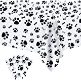 3 Pack Puppy Dog Pet Paw Print Plastic Tablecloth Table Cover,Large Paw Print and Bone Sign Plastic Disposable Rectangle Table Cover/for Pet Dog Themed Birthday Party Decorations,54x108 inch