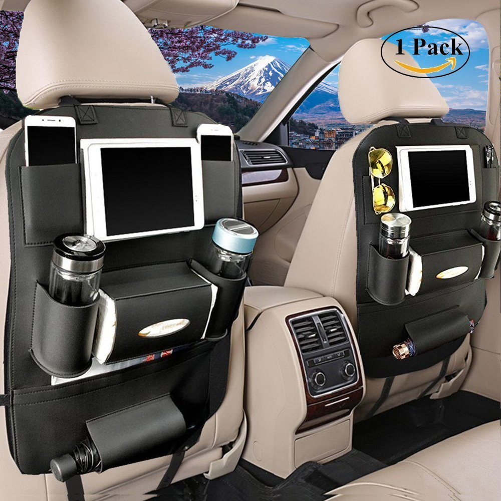 LCZ Backrest Protection Car Seat Organizer High-Quality PU Leather – Protective Car Seat Back Organiser Kick Mats 7 separate compartments/590x420 mm) LCZ factory