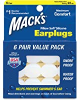 Mack's Pillow Soft Silicone Earplugs - 6 Pair, Value Pack - Comfortable, Moldable Putty Ear Plugs for Sleeping, Snoring, Swimming, Travel, Concerts and Motorcycles