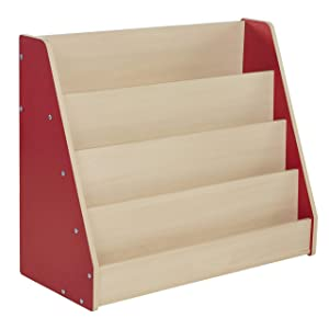 Factory Direct Partners-11941 Colorful Essentials Big Book Display Stand, Laminate Storage Shelf for Kid's Books, Children's Furniture for Bedroom, Playroom, Daycare or Classroom - Maple/Red