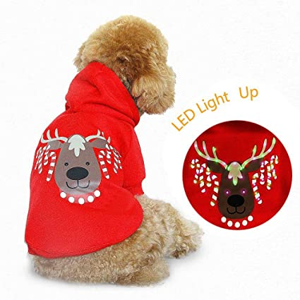 dog christmas clothes led costume small doggy warm cute cat xmas blink shirt holiday pet sweater
