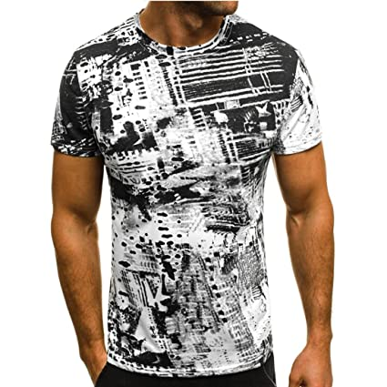 5c4d0f51504 Image Unavailable. Image not available for. Color  Dacawin Fashion  Personality Men s Summer Print Zipper Sleeve Print T Shirt Blouse