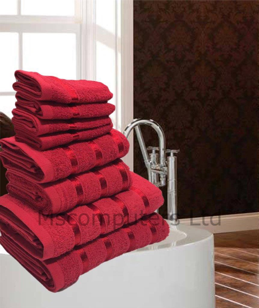 8 Towel Bale Satin Stripe Egyptian Cotton Face/Hand/Bath Luxury Bathroom Towels (White) Msc