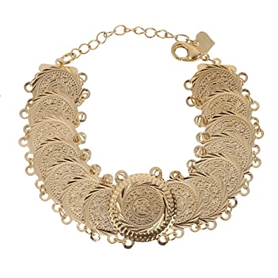 Arabischen Armband Gold Farbe Münzen Armreif Islam Nahen Osten Kette