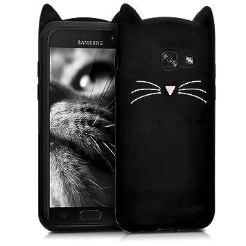 kwmobile Funda para Samsung Galaxy A3 (2017) - Carcasa protectora de silicona y diseño con gato - Cover trasero de móvil