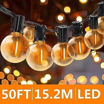 Svater Cadena de Bombillas, 50Ft/15M Cadena de Luz, G40 Guirnaldas Luminosas de Exterior y Interiores con 50 Globe LED Bombillas, Guirnalda Luces Exterior Perefcto para Jardín Patio Fiesta Cafe: Amazon.es: Iluminación