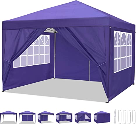 COBIZI Carpa de jardín 3x3m Cenador Plegable Gazebo Impermeable con 4 Paredes, Protección UV 50+, Ajustable en Altura, Pabellon de Jardin Plegable ...