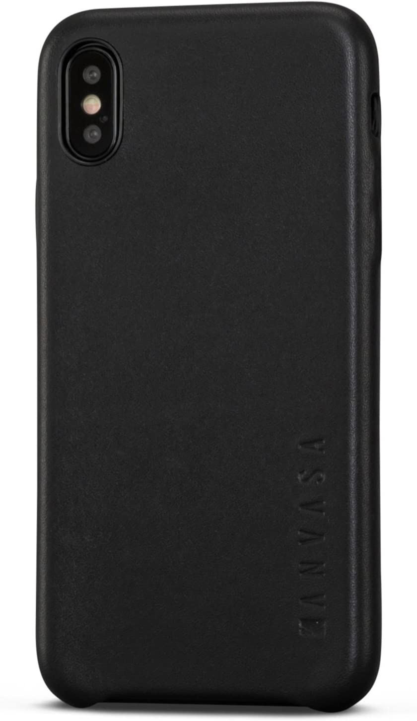 iPhone X Leather Case Black - KANVASA Skin Back Cover for The Original iPhone X/iPhone 10 (5.8