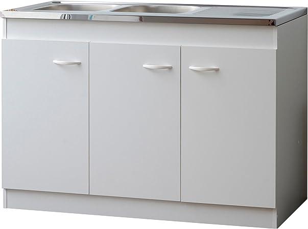Bari 7253 Meuble Sous Evier 3 Portes Blanc 120 X 59 2 X 82 8 Cm Amazon Fr Cuisine Maison