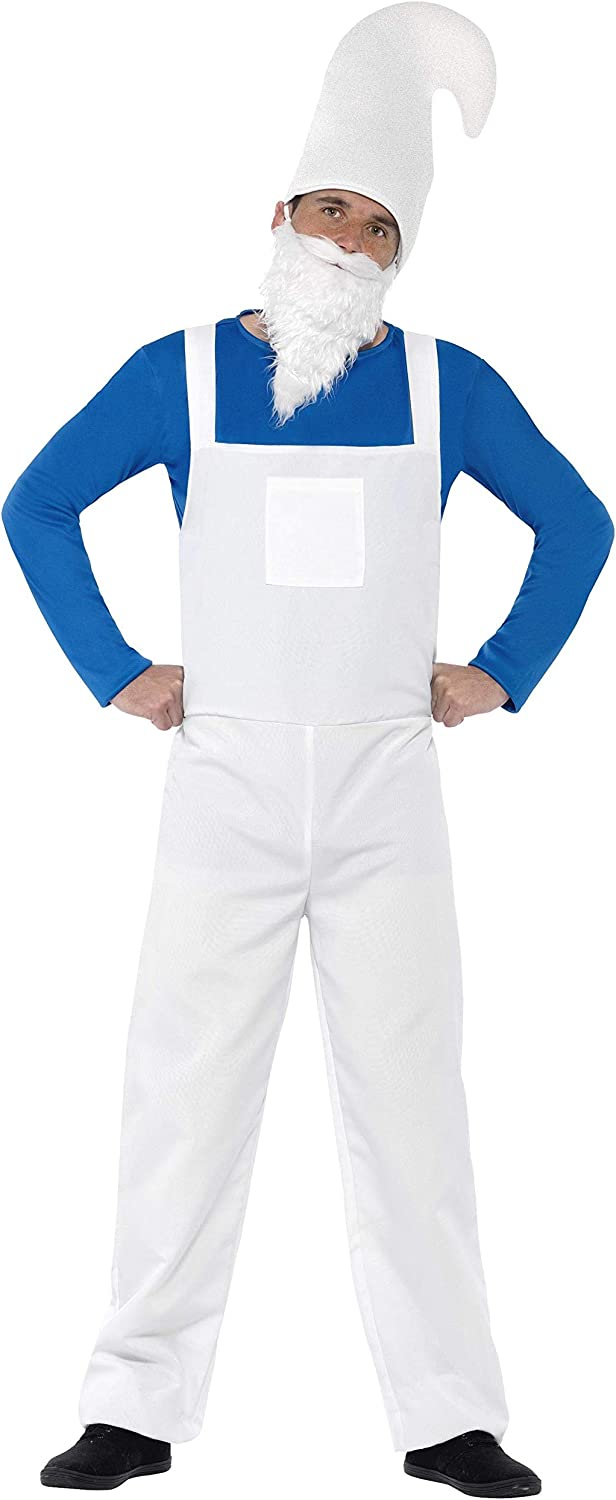 Smiffy's Men's Garden Gnome Costume, Top, Dungarees, Beard and Hat, Funny Side, Serious Fun, Size M, 23390
