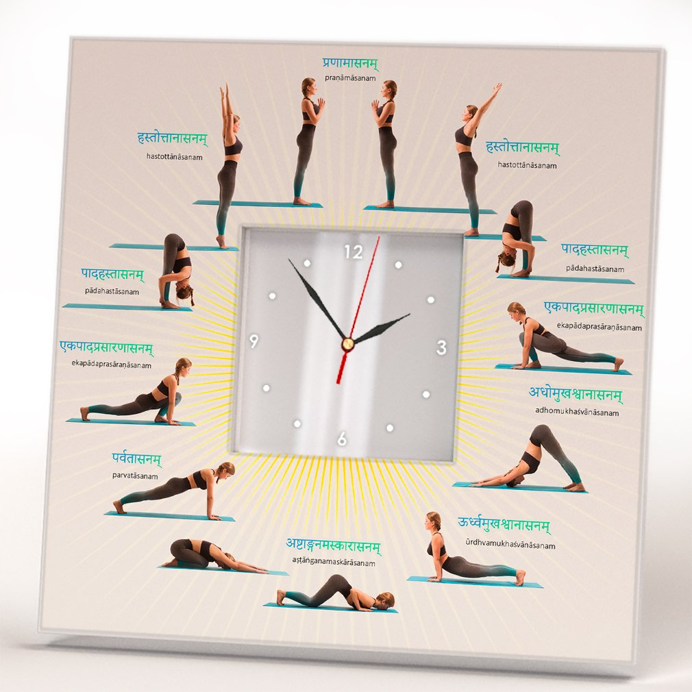 Yoga Time Name Positions Poses Wall Clock Framed Mirror Printed Design Fan Lover Art Home Decor Gift
