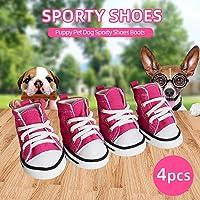 Weehey Botas de Zapatos de Perro 4 unids Zapatos para Perros Botas para Perros Zapatos de Lona para Perros Perrito Mascotas para Perros Zapatos Deportivos Zapatos para Mascotas Antideslizantes S