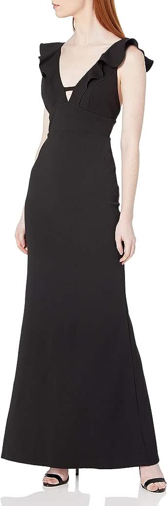 ABS Allen Schwartz Women's Ruffle Front Deep-V Gown