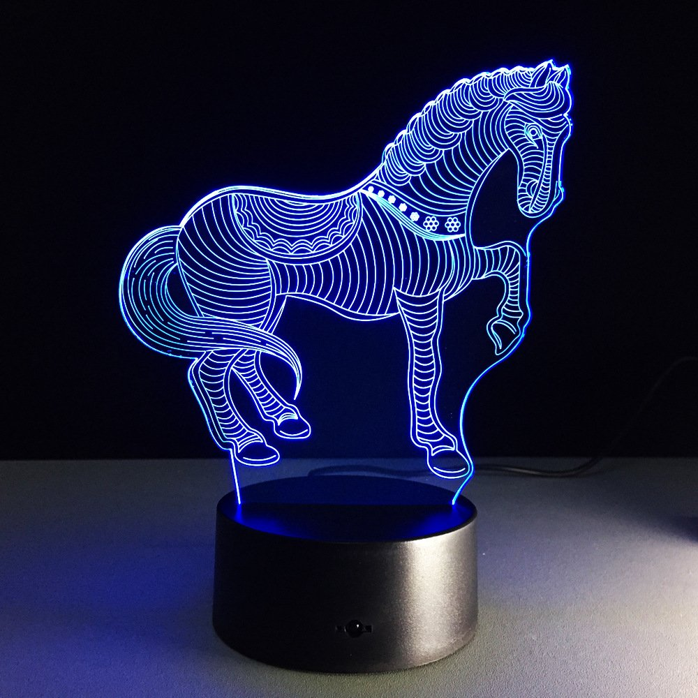 Zebra 3D Night Light LED Lamp Decor USB Powered 7 Colors Change Touch Desk Lamp Table Light with USB Cable for Room Decor, Best Birthday Gift Christmas Gift for Kids or horse pony lovers