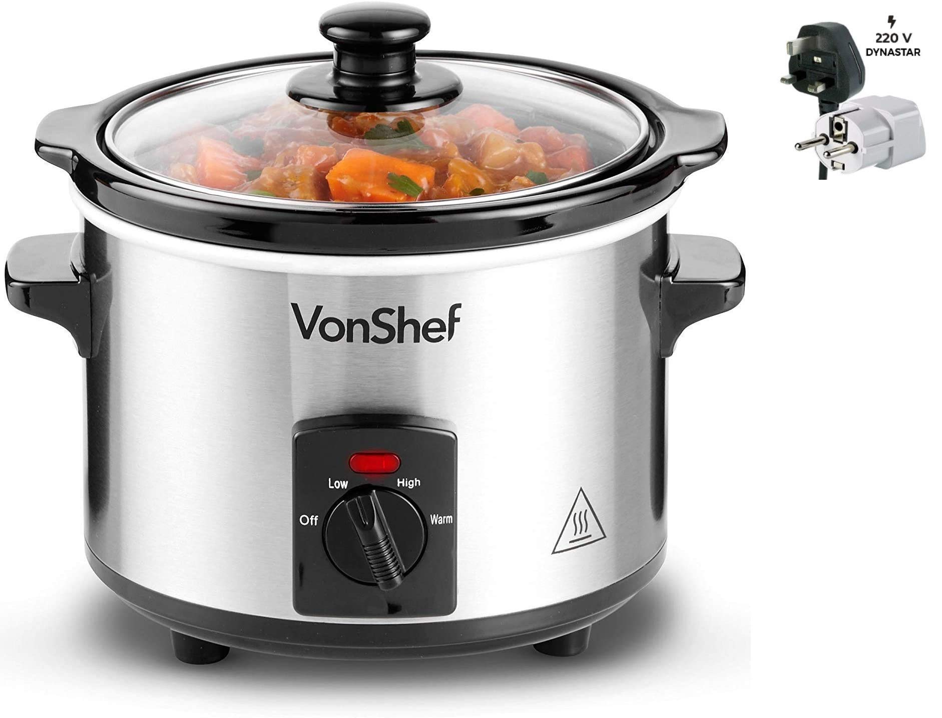 Vonshef 220 Volt 240 Volt Slow Cooker 1.5 L Stainless Steel with Removable Ceramic Dish, 3 Temperature Settings and Dynastar Plug adapters | 220v 240V (NOT FOR USA)