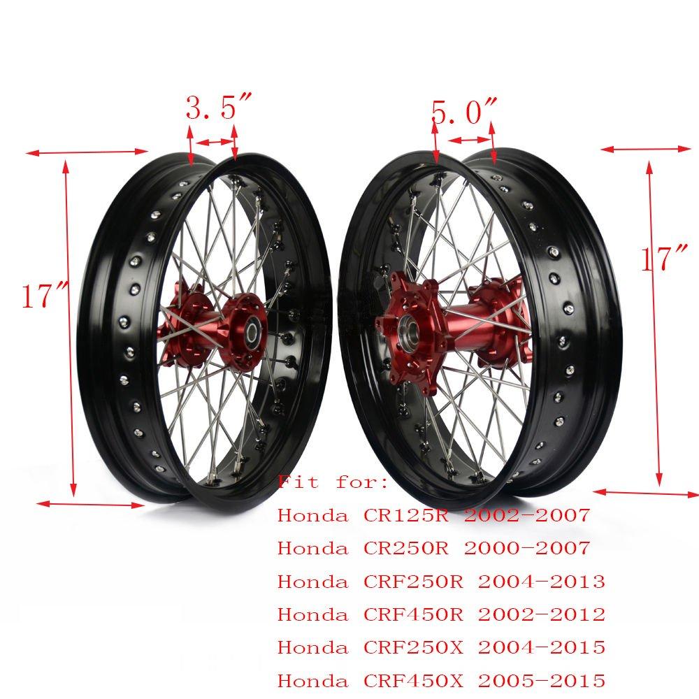 "Amazon.com: 3.5""&5.0"" Wheel Set Honda CR125 CR250 CRF250R CRF450R CRF250X  CRF450X Supermoto: Automotive"