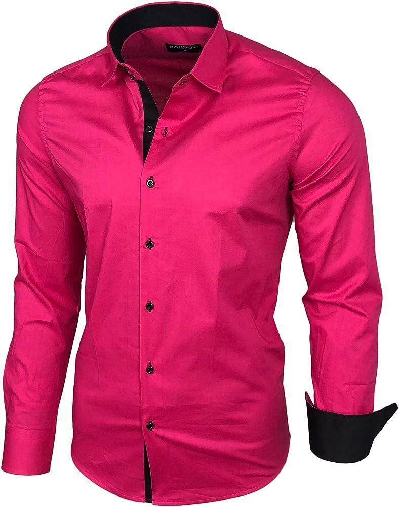 Camisa básica para hombre, para ocio, negocios, traje, manga larga (R-44) rosa XXL: Amazon.es: Ropa y accesorios