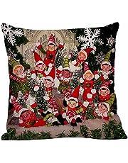BHYDRY Cushion Covers 18x18 Christmas Pillow Covers Linen Sofa Home Decor Pillow Cases (45cmX45cm/18 x18,E)