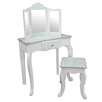Teamson Kids   Fashion Prints Girls Vanity Table And Stool Set With Mirror    Zebra (
