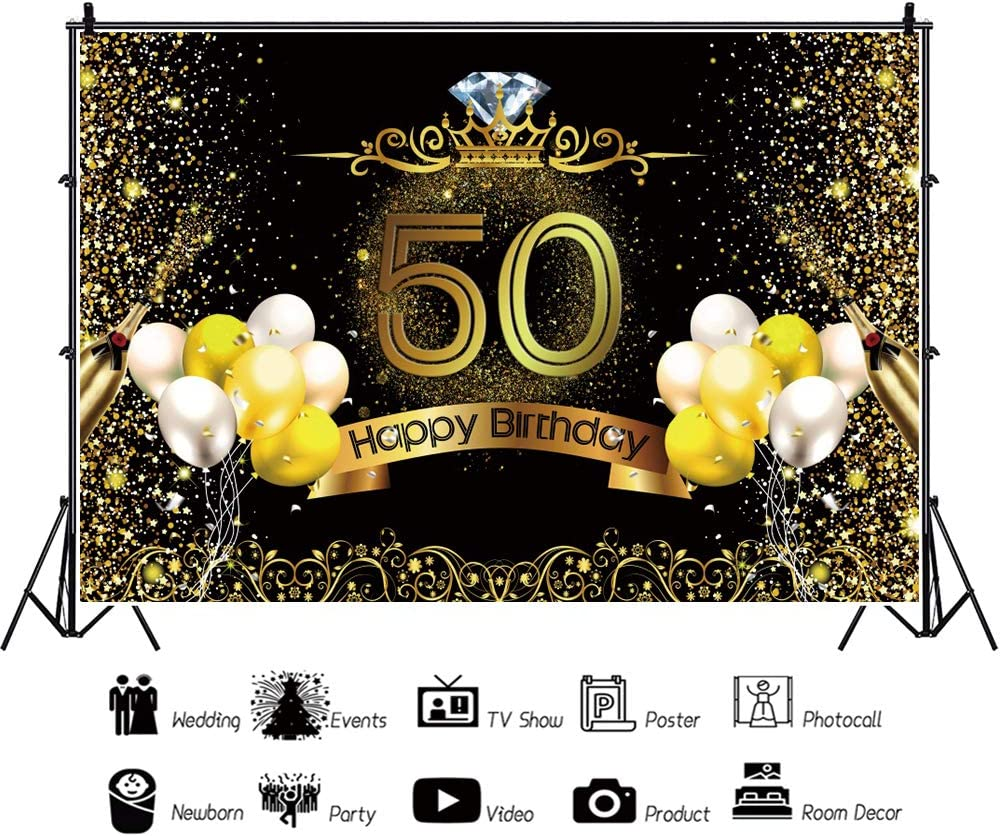 YongFoto 12x8ft 50th Birthday Backdrop Champagne Golden Glitter Balloon Diamonds Crown Photography Background Party Theme Cake Table Banner Adults Portrait Photo Studio Wall Vinyl Poster
