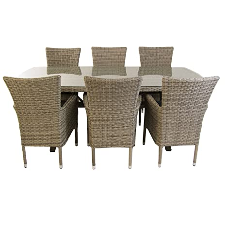 Conjunto Muebles jardín, Mesa 200x100 cm y 6 sillones apilables, Aluminio y rattán sintético Plano Color Gris, 6 plazas, Cristal Templado 5 mm