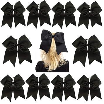"24 USA 10 JUMBO 8/"" Cheer Bow Ponytail Holder Big Girls Large Hair Bows"