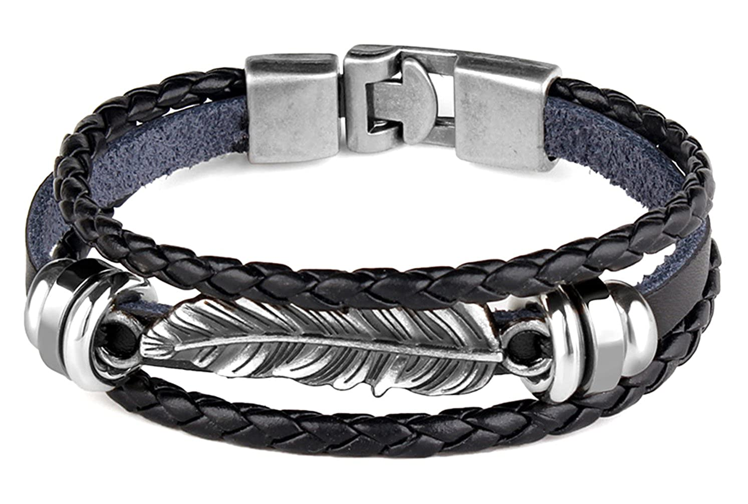 Xusamss Hip Hop Alloy Feather Bead Leather Bangle Buckle Bracelet,7.0inches