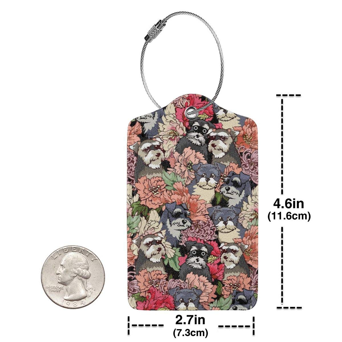 Schnauzer Dog Florals Luggage Tag Label Travel Bag Label With Privacy Cover Luggage Tag Leather Personalized Suitcase Tag Travel Accessories