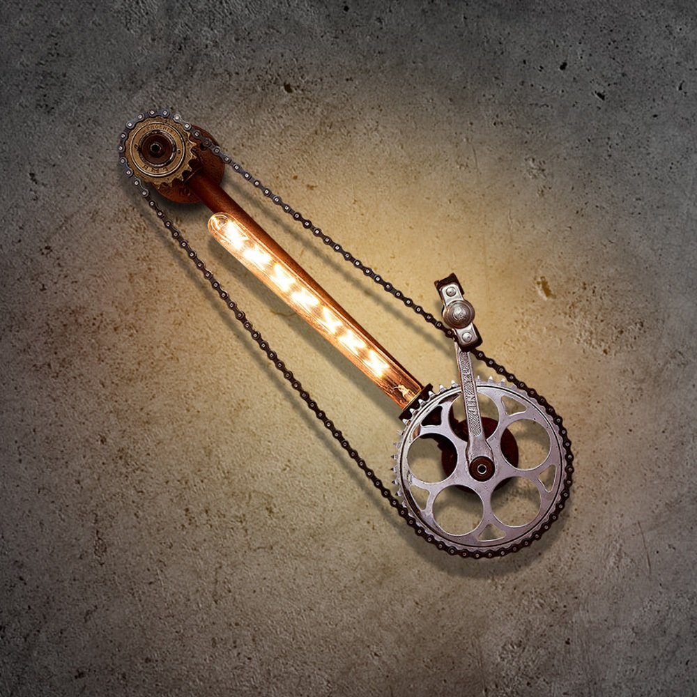 Pointhx Vintage Industrie Loft Wandleuchte Steampunk Kreative Getriebe Wasserrohr Wandleuchte E27 1-Licht Wandleuchte Lichter für Restaurant Wohnzimmer Bar Dekoration (Lampen nicht Enthalten)