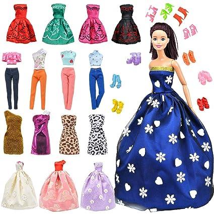467b05f2f9c57 Buy E-TING Lot 15 Items = 5 Sets Fashion Handmade Clothes Dress + 10 ...