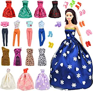 E-TING Lot 15 Items = 5 Sets Fashion Handmade Clothes Dress + 10 Pair Shoes for Girl Doll Xmas Random Style(Clothes+Wedding Dress + Short Skirt)