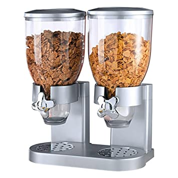Doble de dispensador para cereales, Corn Flakes y cereales en plata: Amazon.es: Hogar