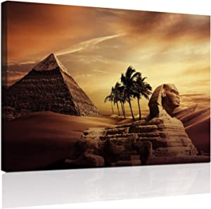 Anddy Ancient Egypt Pyramid Sphinx Canvas Wall Art Egyptian Desert Landscape Picture Painting Giclee Artwork Modern Home Decor Inner Framed for Bathroom Bedroom Living Room Decoration Ready to Hang