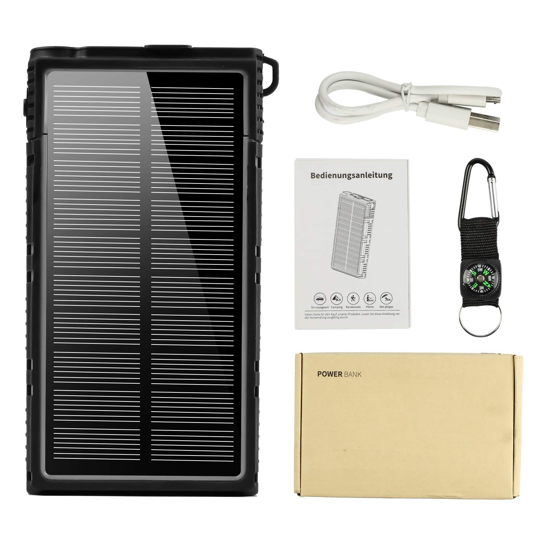 15000mAh Dual USB Power Bank Solar Panel Battery Charger LED Light Travel Camp